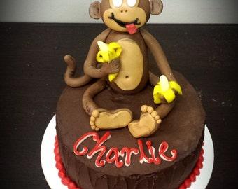 Happy Fondant Monkey Cake Topper