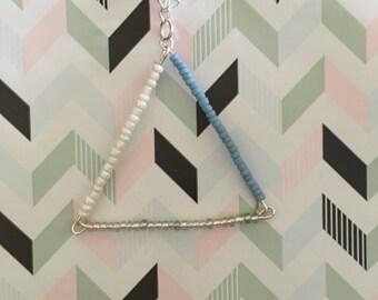 Beaded bar triangle pendant necklace