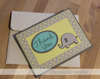 10 Pack Thank You Card with Envelope - Elephant and Polka Dot