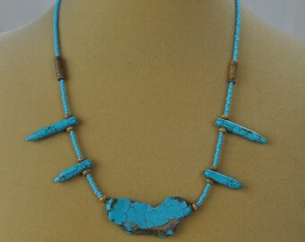 "Necklace - 19"" Turquoise and Tigerskin Jasper Beaded Necklace"
