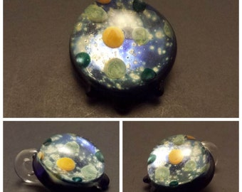 Handmade Glass Galaxy Pendant with 9 Planets