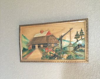 Hand Carved Wooden Wall Hanging Made in Poland 1971