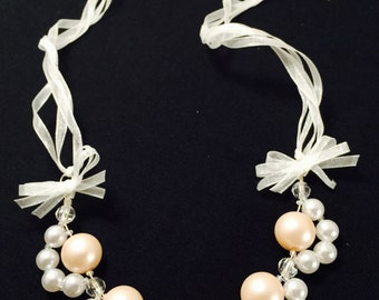 Ribbon and Pearl Statement Necklace