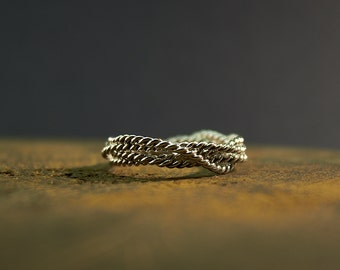 Sterling Silver Wire Ring, Rope Ring, Twist Ring, Twisted Ring, Braided Ring, Braid Ring, Rope Textured, Nautical, Wire Jewelry, Silver Wire