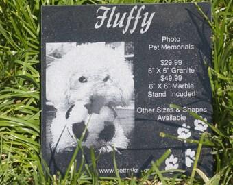 Custom Personalized Laser Engraved Black Granite Dog Memorial Cat Memorial Pet Grave Marker With Photo