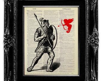 ANGEL Art, Angel Print, Cupid Art, Cupid Print, Book Art, BOOK Page Art, Funny OFFICE Decor, Roman Art, Office Wall Art, Roman Soldier Art