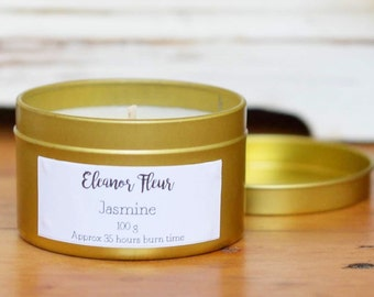 Jasmine Scented 100 Grams Natural Soy Wax Candle in Gold Tin