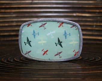 Belt Buckle – Vintage print belt buckle - Interchangeable Belt Buckle – Planes belt buckle – Classic shape belt buckle - CLS-FLT-002
