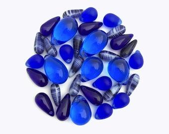 Blue Teardrop Bead Mix, Czech glass Teardrop, Assorted Bead, Mixed Lot, Bead Soup, Jewelry Making, DIY, Bulk, Wholesale, BM040