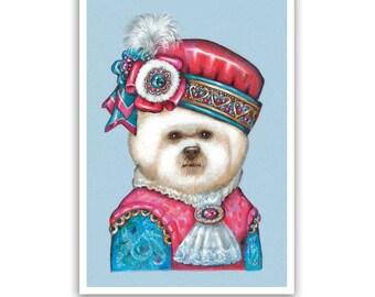 Bichon Frise Art Print - the Page - Dog Gifts, Children Room Art - Dog Portraits by Maria Pishvanova