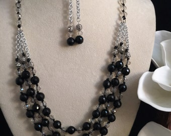 Three Layer Black Onyx Knotted Necklace Set