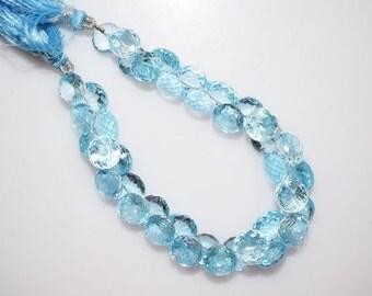 "Sky Blue Topaz Faceted Onion Shape Beads-Sky Blue Topaz Onion Shape Briolette, 6.5x9 - 7.5x10 mm, 7"" , BL769"