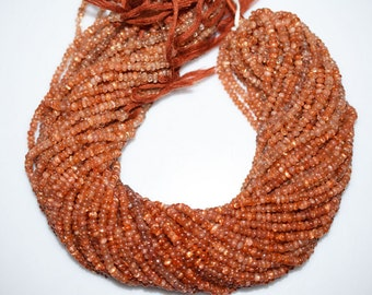 Natural Sunstone Smooth Rondelle Beads 13 Inch Strand ,Sunstone Smooth Rondelle  , 3.75 mm - MC692