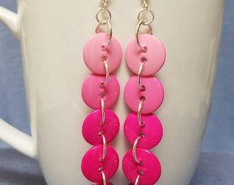 Ombre button earrings, silver earrings, dangle earrings, pink, red, turquoise, green, blue, purple, ombre, fun, cute