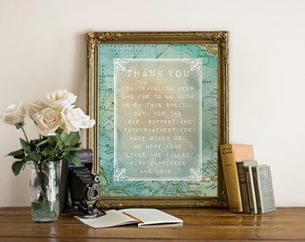 "Travel ""Thank You"" Wedding Sign, Printable, Instant Download!"