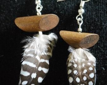 Handmade, beaded, feather earrings