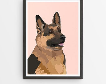 German Shepherd Dog Illustrated Breed Print  / Various Colours /  Dog Lover's Gift / Poster
