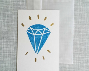 Greeting card handprinted and handpainted A6 linocut ' Shine'