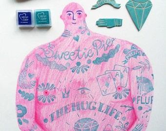 The Hug Life 'limited edition linocut print'
