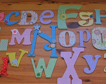 Wooden Hand Painted Alphabet Wall Set