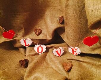 Handmade wooden love heart bunting