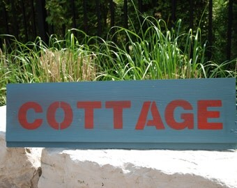 "Hand painted wood sign ""Cottage"""
