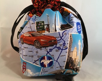 Small Drawstring Project Bag  -  Mustang with Flame Accent