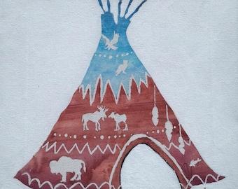 TeePee Watercolor Wall Decor