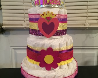 Princess Royalty Diaper Cake Baby Shower Centerpiece Gift Pink Purple Yellow