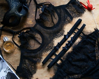 Sexy Lingerie, BDSM, Erotic Lingerie, Sheer Lace Lingerie, See Through Lingerie, Black Lace Lingerie, Retro Lingerie Set, Cage Bikini Top