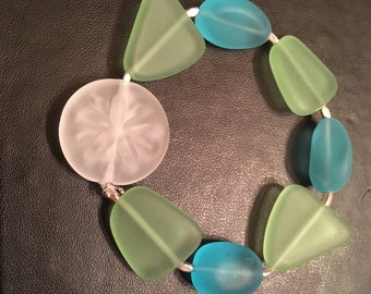 Starfish and sea glass bracelet