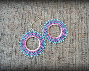 Pink and Blue Beaded Hoop Earrings,Beaded Hoop Earrings,Seed Bead Earrings,Big Hoop Earrings,Colorful Hoops,Nickel Free,Gift for her