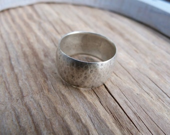 Handmade Sterling Silver wide band domed ring.  Size 7.5