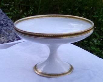 Vintage Limoges porcelain pedestal compot bowl, serving dish, cake plate.