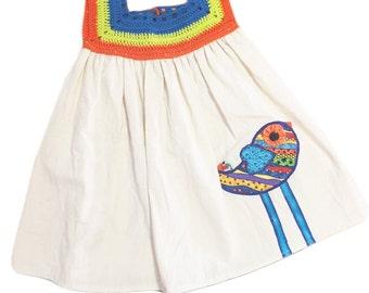 Dress: ornament with bird