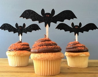 12 Halloween Cupcake Toppers, Bat Cupcake Topper, Halloween Food Picks, Halloween Cake Topper, Halloween decoration, Bat Food Pick