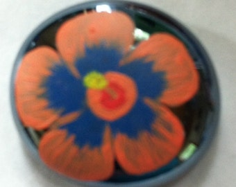 Hand painted glass stone magnet