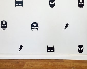 Mixed Superhero Wall Decals - Removable vinyl wall decals/stickers batman superman ironman flash captain america marvel comic