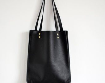 SIMPLE BLACK LEATHER Tote Bag Pebbled Leather Laptop Bag Italian Black Leather Tote - Madrid -