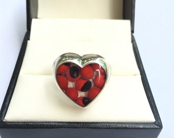 Peruvian Huayruro Seeds Forever Love Silver 950 Ring