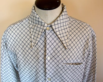 1970s mens button down long sleeve Shirt