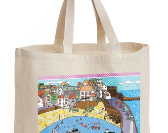 Shopping bag, shoulder bag with a harbor design, strong shopper,  harbor lights, cotton canvas bag. Bags that can be recycled save the world