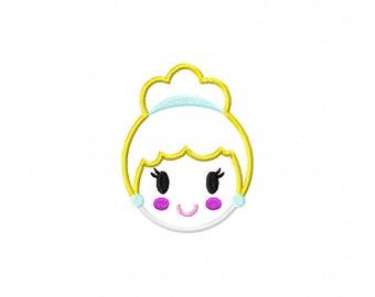 Cinderella machine embroidery design, cinderella applique design, princess embroidery design, princess applique