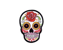 Skull  Patch - White Sugar  Skull  patch Embroidered Iron on Patch - Skull  Iron on Applique