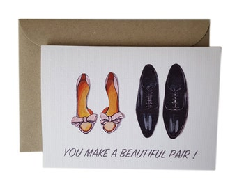 Wedding card, Wedding heels and shoes, His and Hers, You make a beautiful pair, Congratulations