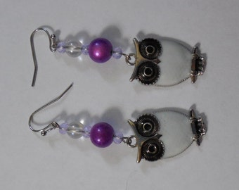 White Owls, Purple Bead dangles