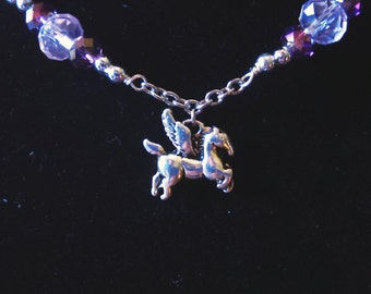 Pegasus flying horse pink and purple necklace and earring set