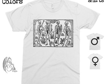 Dance Orchestra of Death - Nicolas LeRouge 1496 T-shirt, Tee, American Apparel, Artist, Art, Illustration, Medieval, Middle Ages, Cute Gift