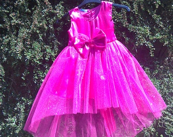 Party dress, fusia satin with glitter toulle overlay sizes age 2 3 4 5 yrs