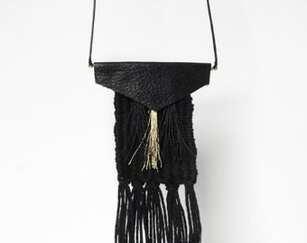 gold tassel and leather weaving necklace